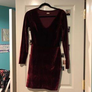 Long sleeve garnet velvet mini dress